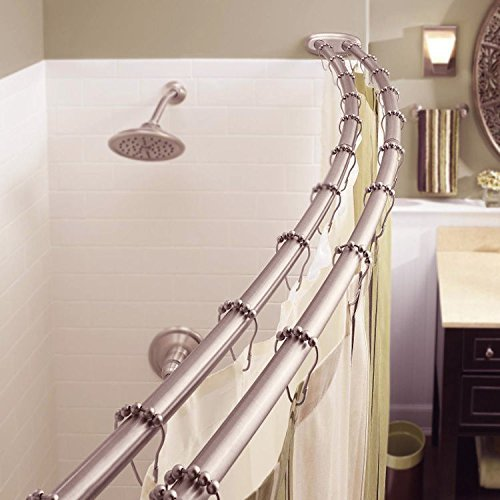 Adjustable Double Curved Shower Curtain Rod Crescent Bathtub, Satin - Shower Curtain Crescent Rod