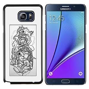 TECHCASE---Cubierta de la caja de protección para la piel dura ** Samsung Galaxy Note 5 ** --Floral gris Mujer Pétalo Negro Blanco