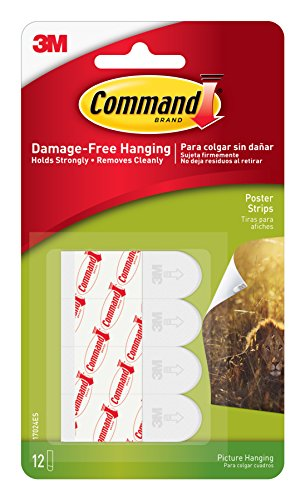 Command Poster Hanging Strips, 12 Strips, White, 17024