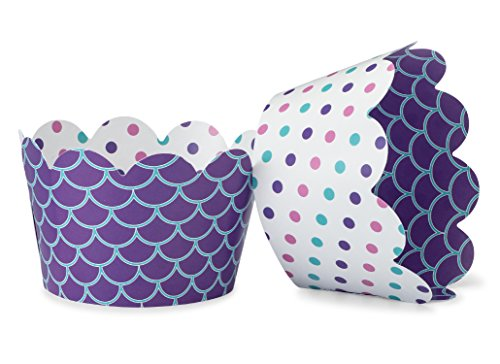 Mermaid Cupcake Wrappers for Beach, Sea Weddings, Girls Birthday Parties, Ocean Baby or Bridal Showers. Set of 24 Reversible Polka Dot, Scalloped Cup Cake Holder Wraps. Turquoise, Purple, -