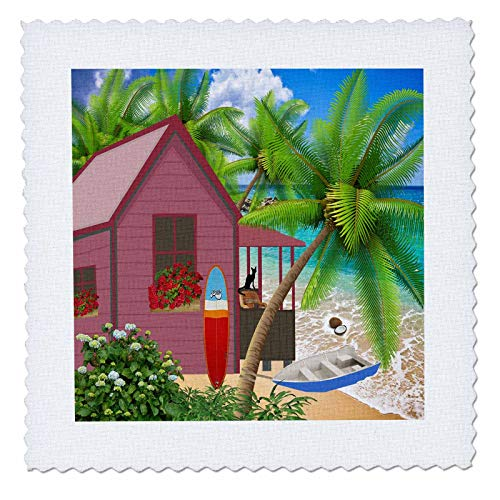 3dRose Lens Art by Florene - Pineapple and Beach Art - Image of Beautiful Beach Cottage with Surf Board and Palm - 12x12 inch Quilt Square (qs_303365_4)