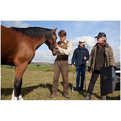 Munich 8x10 Photo (War Horse Jeremy Irvine as Albert Rubbing Horse's Muzzle and Director Steven Spielberg 8 x 10 inch photo)