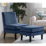 Elle Decor UPH10020C Elle Décor Olivia Ottoman, Accent Chair, Cobalt
