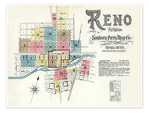 MAP of the city of RENO NEVADA by the Sanborn Map Company circa 1899 - measures 24