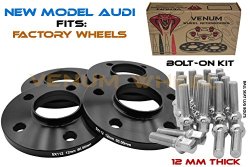 (4) 5x112 Audi Black Hubcentric Wheel Spacers Kit 12 MM Thick + 20 Chrome Ball Seat Extended Lug Bolts 09-2019 A4 A5 A6 A7 A8 All Road S4 S5 S6 S7 RS5 RS7 Q5 SQ5 W/Factory Wheels