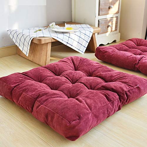 HIGOGOGO Solid Square Seat Cushion, Tufted Thicken Pillow Seat Soft Corduroy Chair Pad Tatami Floor Cushion for Yoga Meditation Living Room Balcony Office Outdoor, Wine, 22x22 Inch