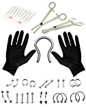 Body Piercing Kit 36 Pieces Belly Tongue Septum Retainer Eyebrow 16G, 14G