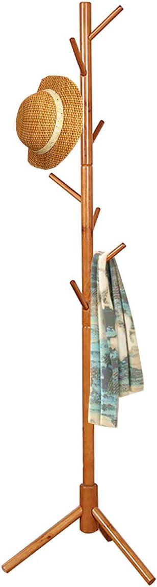 FADDA Free Standing Coat Rack Wood Tree Coat Rack with 8 Hooks, Sweater, hat, and Bag, Tree Hanger Bracket