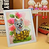 tiny craft brackets - Norbi Diamond Painting, Happy Tiny Teacup Poodle DIY 5D Diamond Painting by Number Kits Crystal Rhinestone Diamond Embroidery Paintings Pictures for Kids,Come With Paper Frame and Bracket