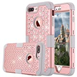 iPhone 7 Plus Case, LONTECT Hybrid Heavy Duty Shockproof Diamond Studded Bling Rhinestone Case with Dual Layer [Hard PC+ Soft Silicone] Impact Protection for Apple iPhone 7 Plus - Rose Gold/Grey (Electronics)