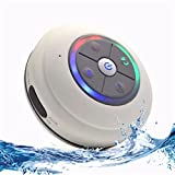 Portable Bluetooth Shower Speaker with Color Changing LED Lights. IPX4 Water Resistant with Removable Suction Cup, Handsfree Speakerphone, MicroSD Slot for Local Playback & FM Radio! (White)