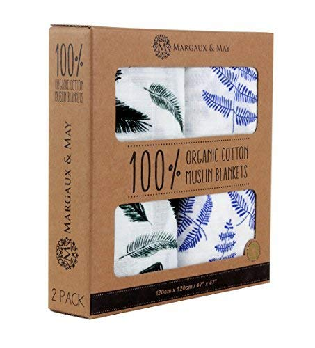 Organic Muslin Swaddles Blanket by Margaux & May - Blue Fern & Green Feather - 47 x 47 inches Ultra Soft Muslin Swaddle Blankets - Perfect Baby Shower Gift