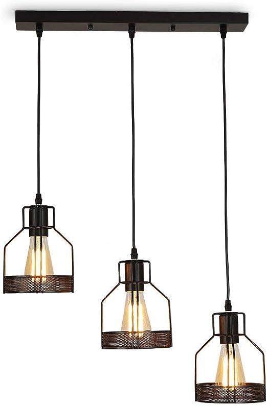 Métal Retro Suspension Luminaire Industrielle,lustre plafonnier vintage  pour cuisine salon salle à manger chambre restaurant café repas  boutique,Noir ...