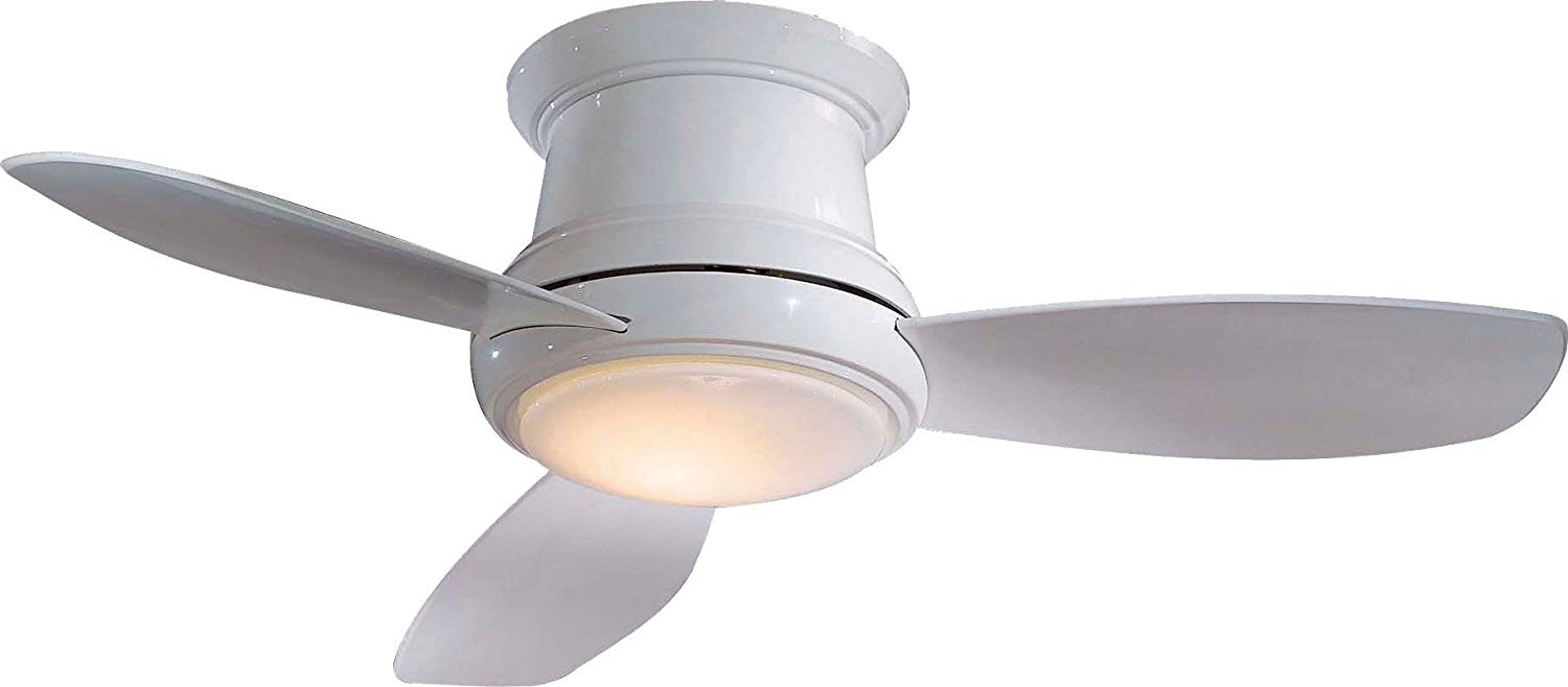 Minka-Aire F518L-WH, Concept II LED White Flush Mount 44'' Ceiling Fan with Light & Remote Control