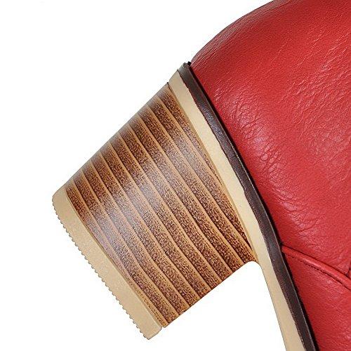 AllhqFashion Mujeres Tacón Medio Material Suave Tobillo Sólido Sin cordones Botas Rojo