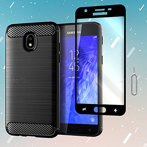 Carbon Fiber TPU Case+Tempered Glass Screen Protector Film+ SIM Card Ejection Pin for Samsung Galaxy Express Prime 3 -