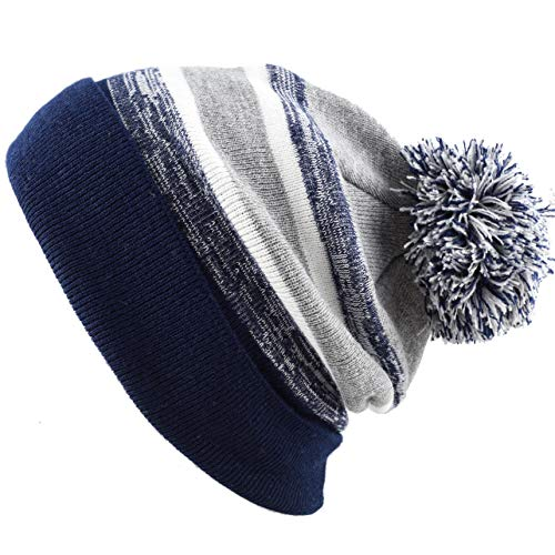 THE HAT DEPOT Winter Soft Unisex Pom Pom Stripe Knit Beanie Skull Slouch Hat (Navy-Grey) Blue Stripe Wool Hat
