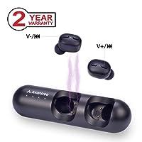 Avantree TWS110 True Wireless Ohrhörer mit Lautstärkeregler, Kabellose TWS In-Ear Mini Bluetooth 5.0 Kopfhörer, Auto Pairing, Built-in Mikrofon & Siri, Google Assistant Sprachsteuerung, 28 Std. Musik Ohrstöpsel Headset mit Lade-Hülle