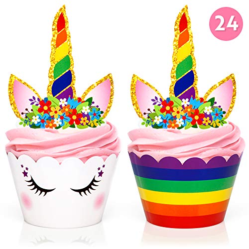 Rainbow Unicorn Cupcake Toppers and Wrappers - Girl's Birthday Party Supplies and Baby Shower, Rainbow Unicorn Cake Decoration - Double Sided - Set of 24 by Fiesta! Fiesta!