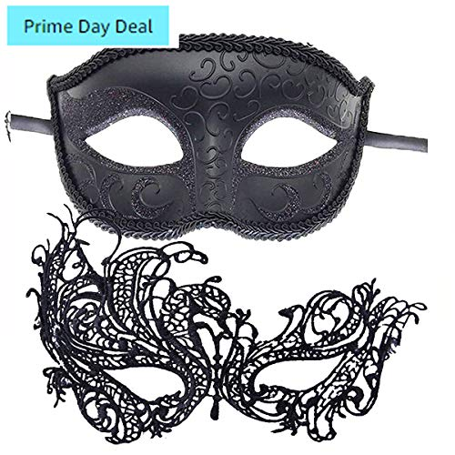 7Queen Couple Masquerade Masks Set Women Lace Black Swan & Men Phantom of The Opera Venetian Halloween Costume Mask Mardi Gras Party Mask Party, Fancy Ball, Prom, Mardi Gras, Wedding, Wall Decoration]()