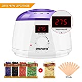 Smartwood Waxing kit, Home Rapid Melt Hair Removal Wax Warmer Kit with LCD Display Screen, 5 Flavors Hard Wax Beans+10 Wax Applicator Sticks