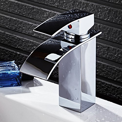 Vanity Sink Faucet (HOROW Single Handle Waterfall Bathroom Vanity Sink Faucet with Extra Large Rectangular Spout(Chrome Finish))