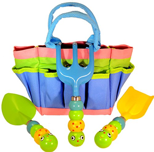Kids garden tool set with tote tools handles made as for Gardening tools on amazon