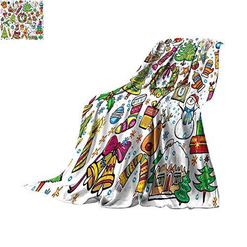 (Christmas Super Soft Lightweight Blanket Cute Xmas Elements with Candies Snowman Fir Sweets Celebration Kids Nursery Theme Print Artwork Image 62