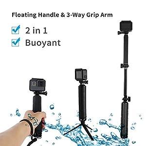 TELESIN NEW Waterproof Selfie Stick - Floating Handle Floaty Hand Grip and 3-Way Grip Arm Monopod Telescopic Pole Tripod Mount 2 in 1 for GoPro Hero 5 4 3 2, SJCAM, Xiaomi Yi 4K 4K+