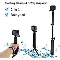 TELESIN NEW Waterproof Selfie Stick - Floating Handle Floaty Hand Grip and 3-Way Grip Arm Monopod Telescopic Pole Tripod Mount 2 in 1 for GoPro Hero 5 4 3 2, SJCAM, Xiaomi Yi 4K 4K+