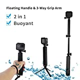 TELESIN Waterproof Selfie Stick - Floating Handle Floaty Hand Grip and 3-Way Grip Arm Monopod Telescopic Pole Tripod Mount 2 in 1 for GoPro Hero 6 5 4 3 2, SJCAM, Xiaomi Yi 4K 4K+