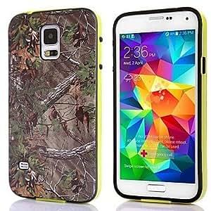 TY-La caza del patrón TPU + PC Árbol Camuflaje Hierba 2-en-1 caso duro para Samsung Galaxy i9600 S5