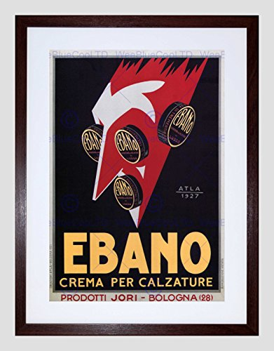 (Advert Black Shoe Polish Ebano Bologna Italy Vintage Framed Art Print B12X2733)