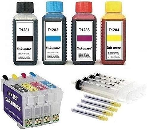 Wiederbefüllbare Quickfill/Fill-in Patronen mit Auto-Reset-Chips T1281-1284 + 4 x 100 ml Ink-Mate Premium Nachfülltinte black, cyan, magenta, yellow