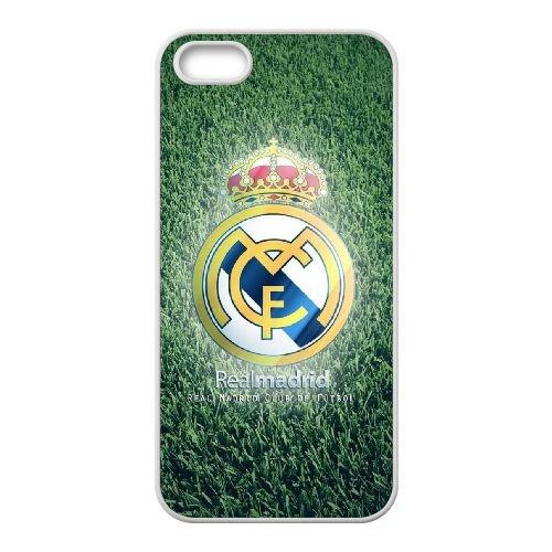 C7I17 footballs réel logo madrid P4X7SB coque iPhone 5 5s cellulaire cas de téléphone couvercle coque blanche KU0GHN1PU