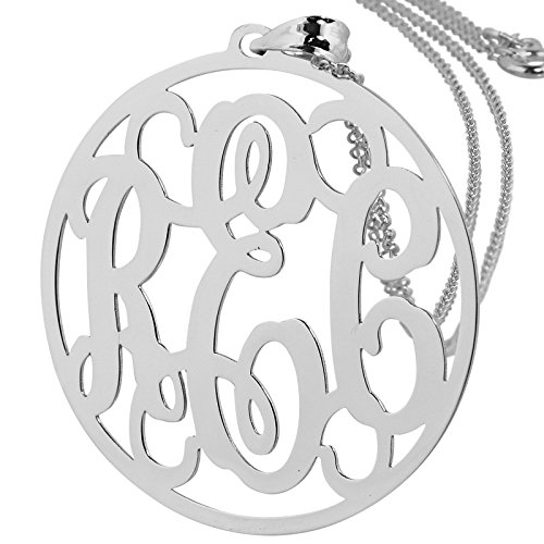 Soul Jewelry Solid 14k White Gold Round Circle Monogram Pendant 1 1/4 Inches Monogrammed 3 Initials. (16)