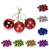 24PCs Christmas Tree Decoration Balls,Hemlock Christmas Tree Hanging Balls (Gold)