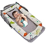 KAKIBLIN Baby Sleeping Pad, Baby Bassinet for Bed Baby Lounger Bed Bassinet for Newborn Baby Portable Crib, Suitable for 0-8 Months, White