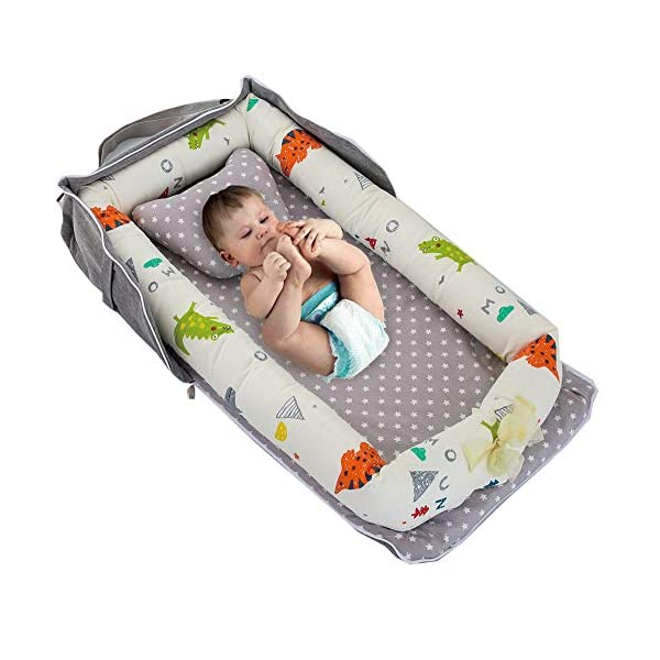 Baby Bassinet for Bed -Little Dinosaur Baby Lounger – Breathable & Hypoallergenic Co-Sleeping Baby Bed Baby Nest – 100% Cotton Portable Crib for Bedroom/Travel(0-24 Months)