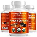 Organic Turmeric Curcumin Supplement – Non-GMO, Vegan - Potent 95% Curcuminoids, BioPerine (Black Pepper) Best Absorption – Anti-Inflammatory, Joint Support, Pain Relief – CellCynergy 60 Capsules