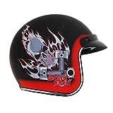 Vega X-380 Open Face Helmet with Speed Devil Graphics (Flat Black, Medium)