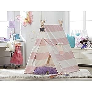 Amazon.com: TurtlePlay Kid\'s Pink Stripe Indoor Teepee Play Tent ...