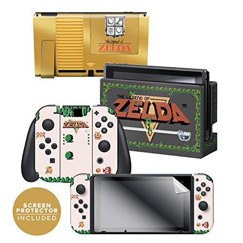 Nintendo Decal Set - Controller Gear Nintendo Switch Skin & Screen Protector Set - The Legend of Zelda - Gold Cartridge - Nintendo Switch