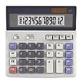 Calculator Desktop Desktop Calculator Solar Dual Power Supply  Plastic Button  12 Digits Large Screen Display Automatic Shut-Down
