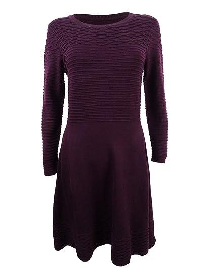 873618b50a2 Jessica Howard Womens Petites Fit   Flare Crew Neck Sweaterdress Purple PXL