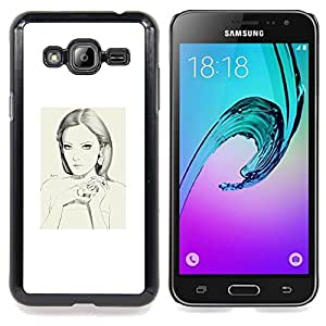 Eason Shop / Premium SLIM PC / Aliminium Casa Carcasa Funda Case Bandera Cover - Depresión triste Blanca - For Samsung Galaxy J3 GSM-J300