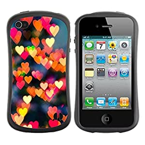 Paccase / Suave TPU GEL Caso Carcasa de Protección Funda para - lights red yellow night city heart love - Apple Iphone 4 / 4S