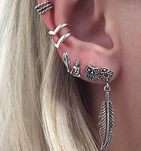 idealway Women 6pcs//set Vintage Silver Leaf Owl Head Stud Earring Cuff