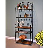 4D Concepts Baker's Rack with Slate Top, Metal/ Slate