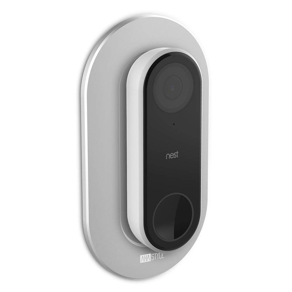 AhaStyle Aluminum Wall Plate for Nest Hello Doorbell -[Compatible with Angle Wedge] (Silver)